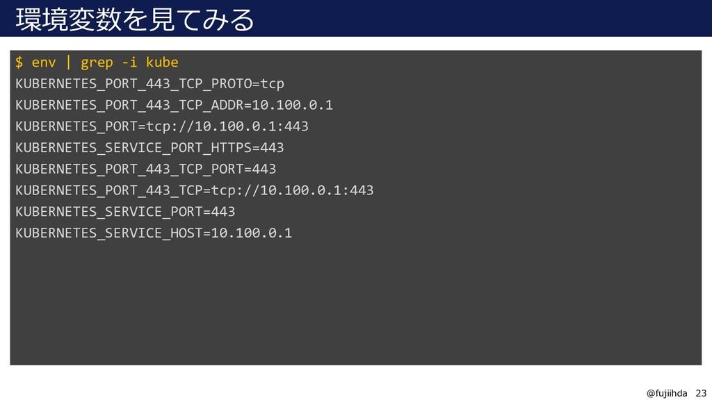 23 23 @fujiihda 環境変数を見てみる $ env | grep -i kube ...