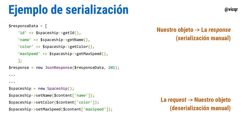 @vicqr Ejemplo de serialización $responseData =...