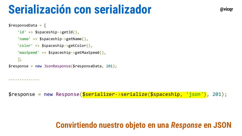 @vicqr Serialización con serializador $response...