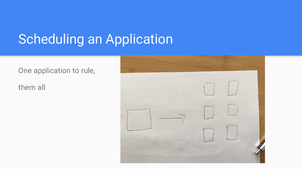Scheduling an Application One application to ru...