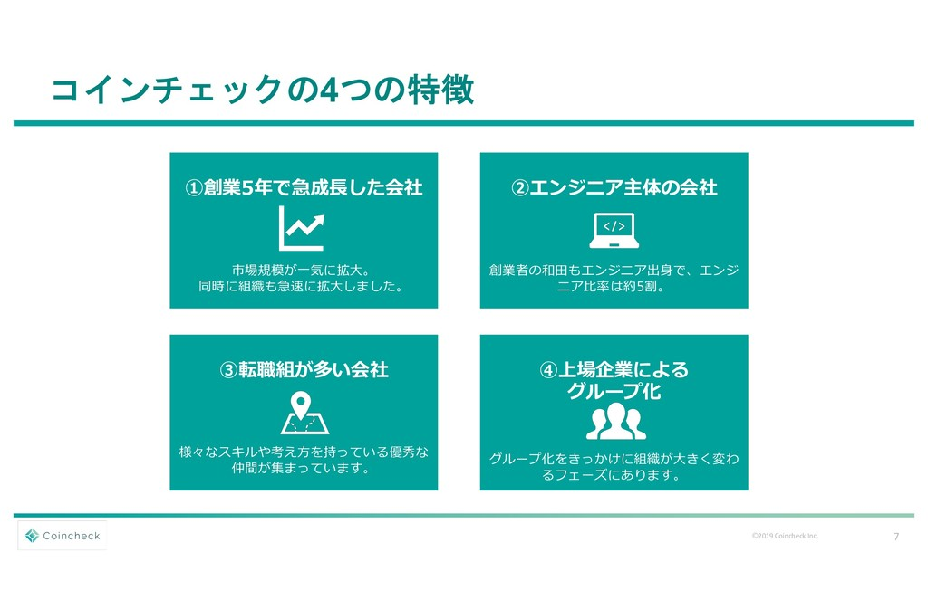 7 Ⓒ2019 Coincheck Inc. コインチェックの4つの特徴 ①創業5年で急成⻑し...