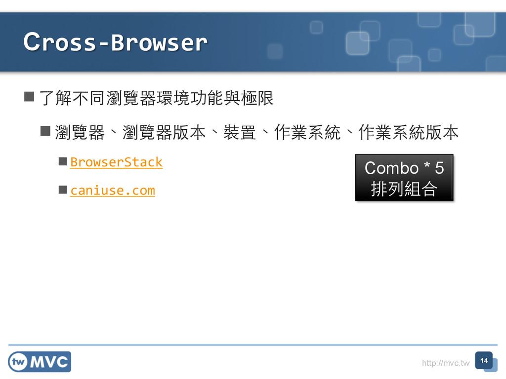 http://mvc.tw n了解不同瀏覽器環境功能與極限  n瀏覽器、瀏覽器版...