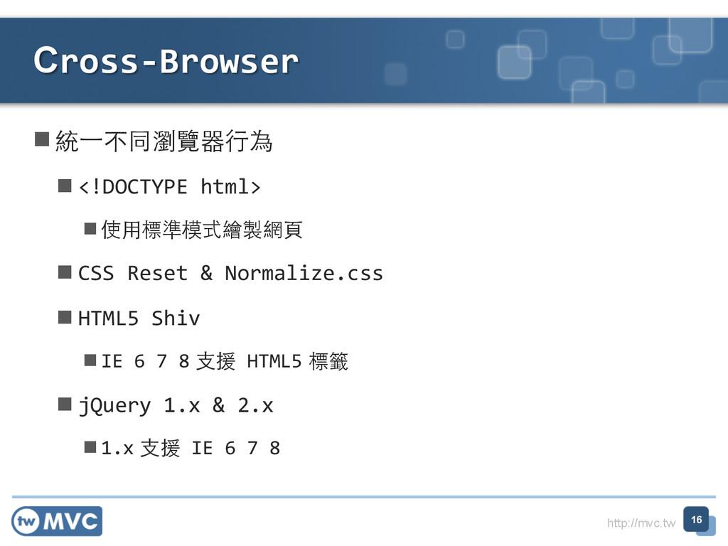 http://mvc.tw n統⼀一不同瀏覽器⾏行為  n<!DOCTYPE...