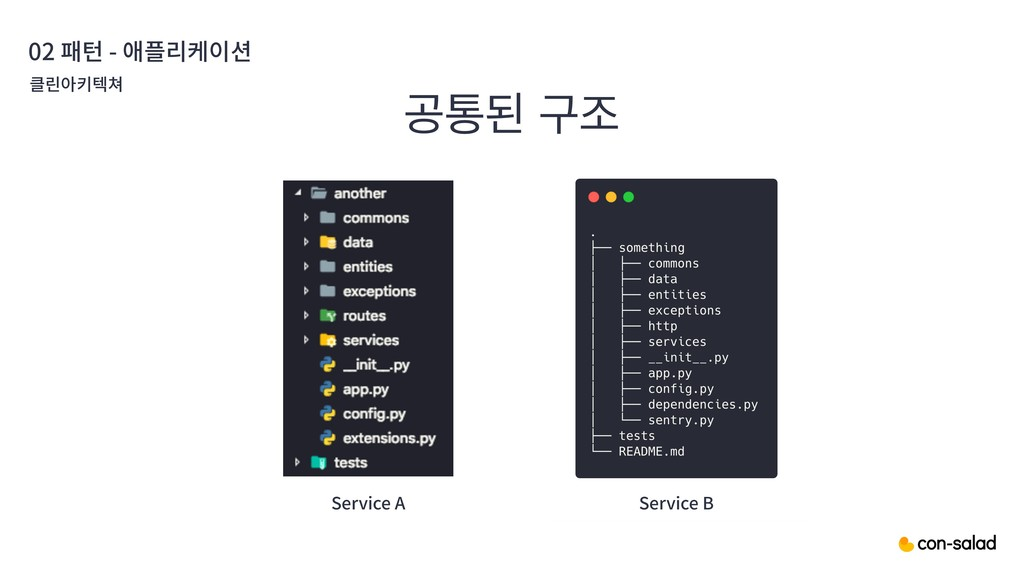 ҕాػ ҳઑ 02 패턴 - 애플리케이션 클린아키텍쳐 Service A Service B