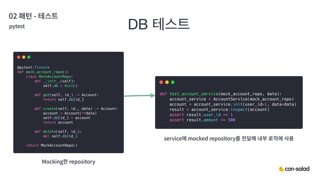 02 패턴 - 테스트 DB పझ pytest Mocking한 repository s...