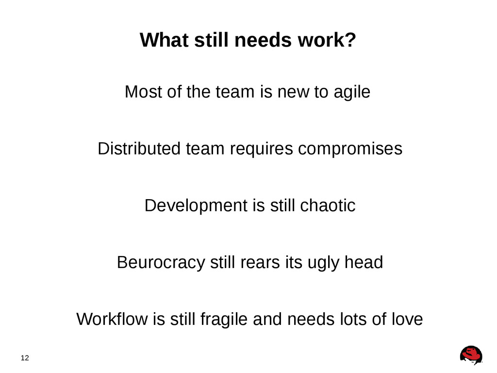 12 What still needs work? Most of the team is n...
