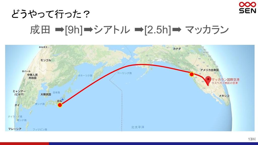 13 成田 ➡[9h]➡シアトル ➡[2.5h]➡ マッカラン どうやって行った?