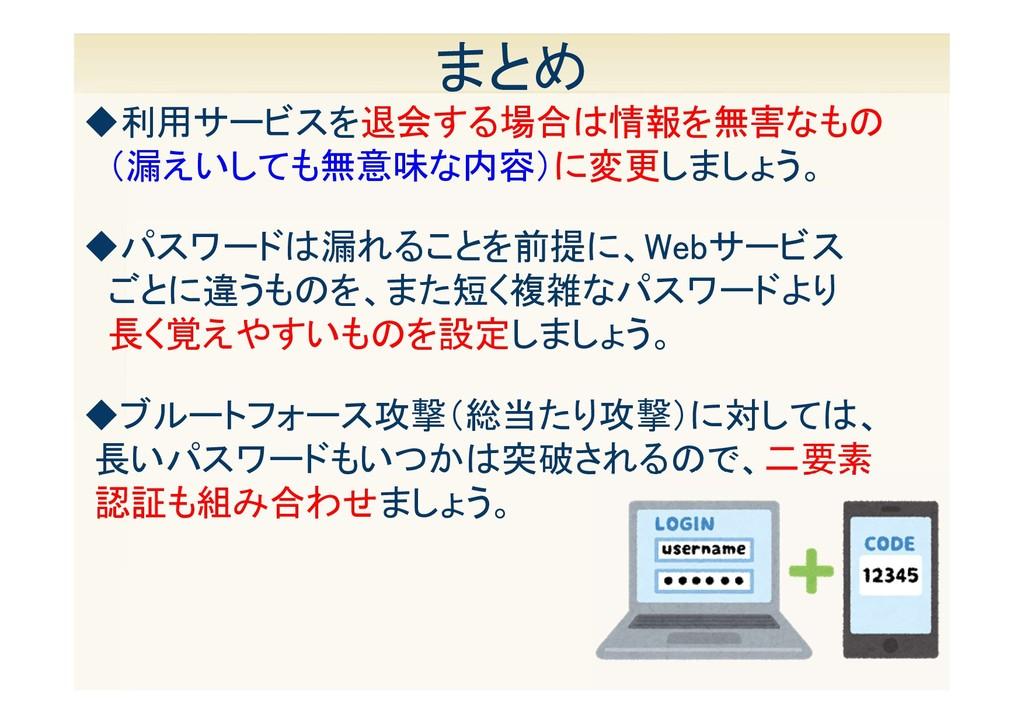 18 まとめ ◆パスワードは漏れることを前提に、Webサービス ごとに違うものを、また短く複雑...