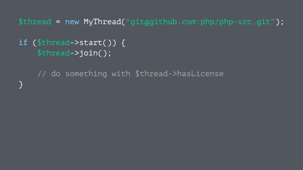 "$thread = new MyThread(""git@github.com:php/php-..."
