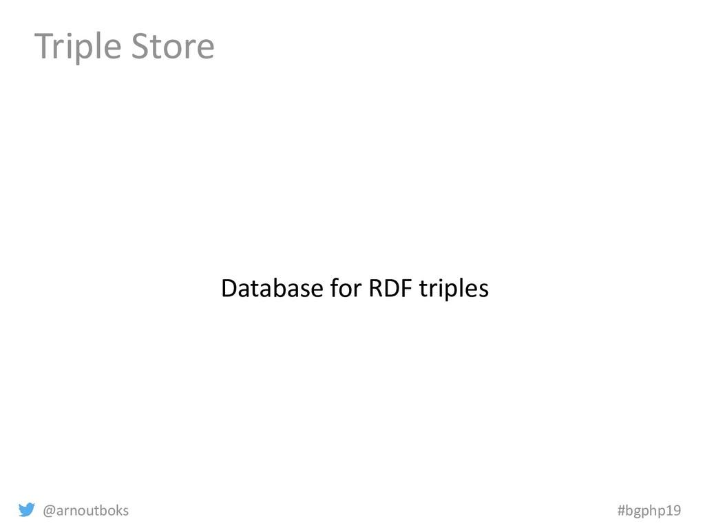 @arnoutboks #bgphp19 Triple Store Database for ...