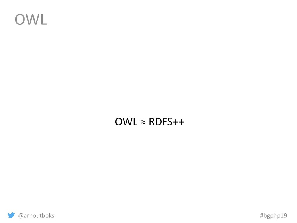 @arnoutboks #bgphp19 OWL OWL ≈ RDFS++