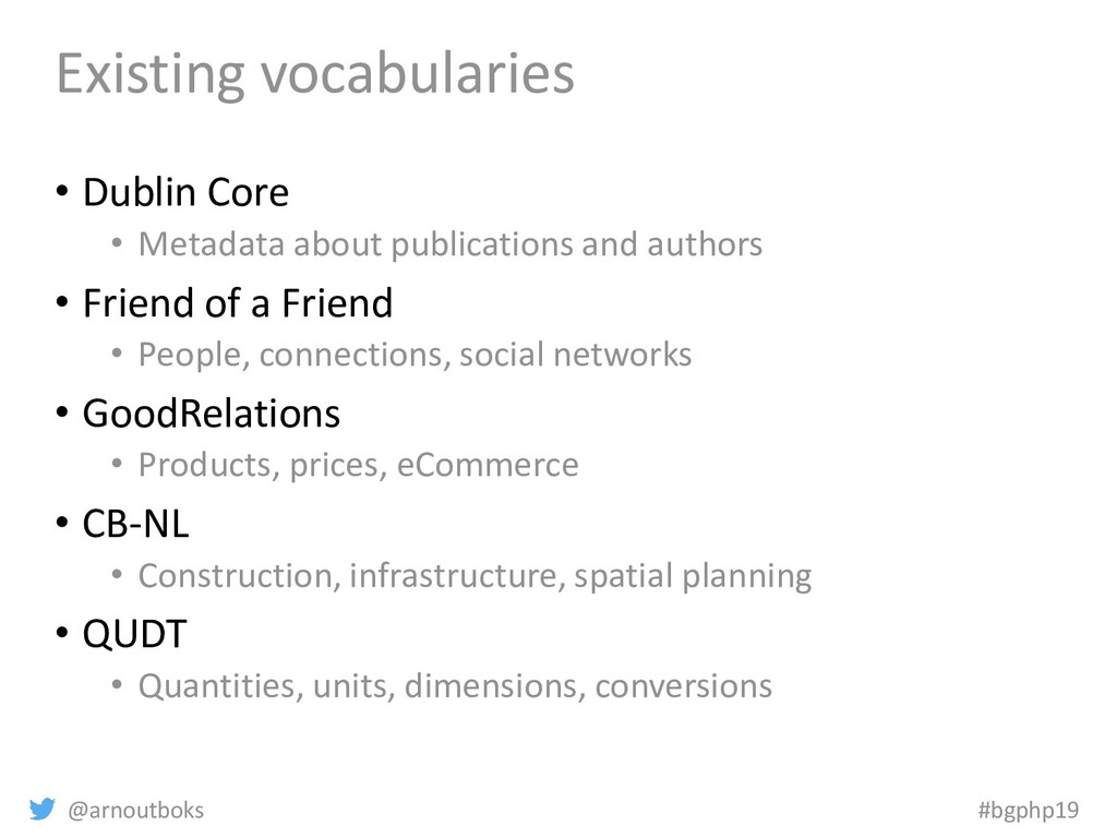 @arnoutboks #bgphp19 Existing vocabularies • Du...