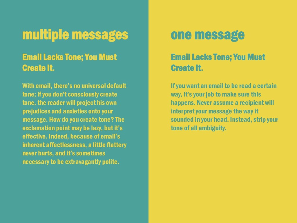 multiple messages Email Lacks Tone; You Must Cr...