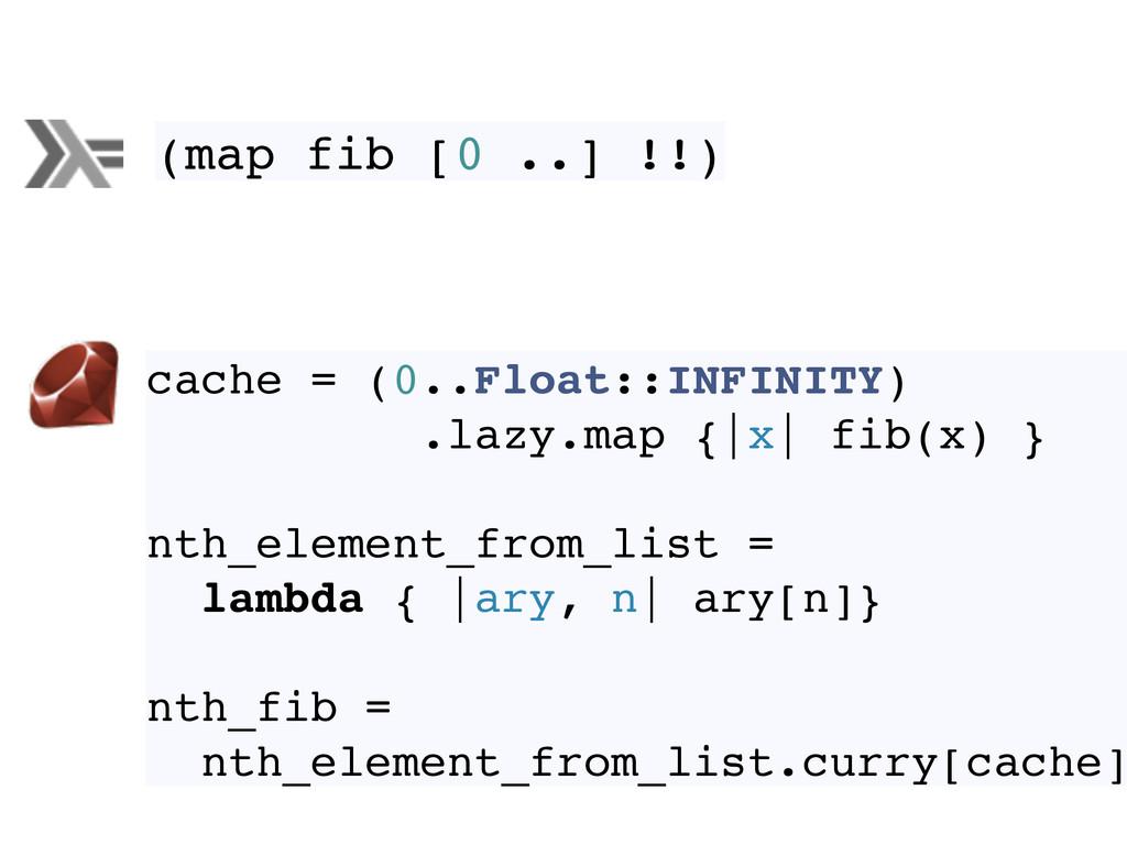 (map fib [0 ..] !!) cache = (0..Float::INFINITY...