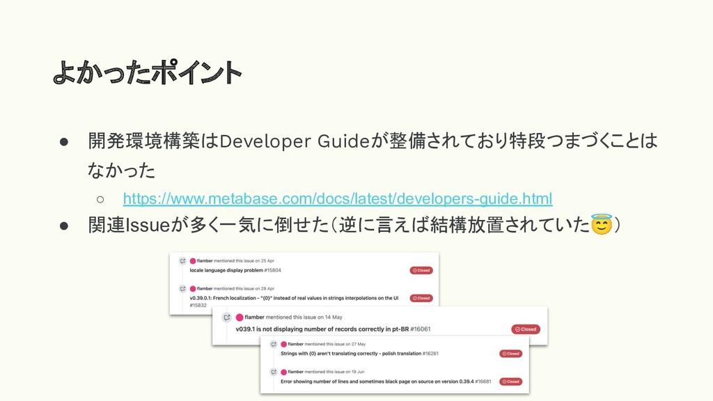 ● 開発環境構築はDeveloper Guideが整備されており特段つまづくことは なかった ...