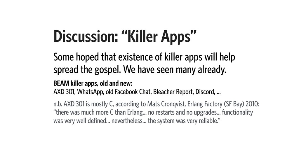 """Discussion: """"Killer Apps"""" Some hoped that exist..."""