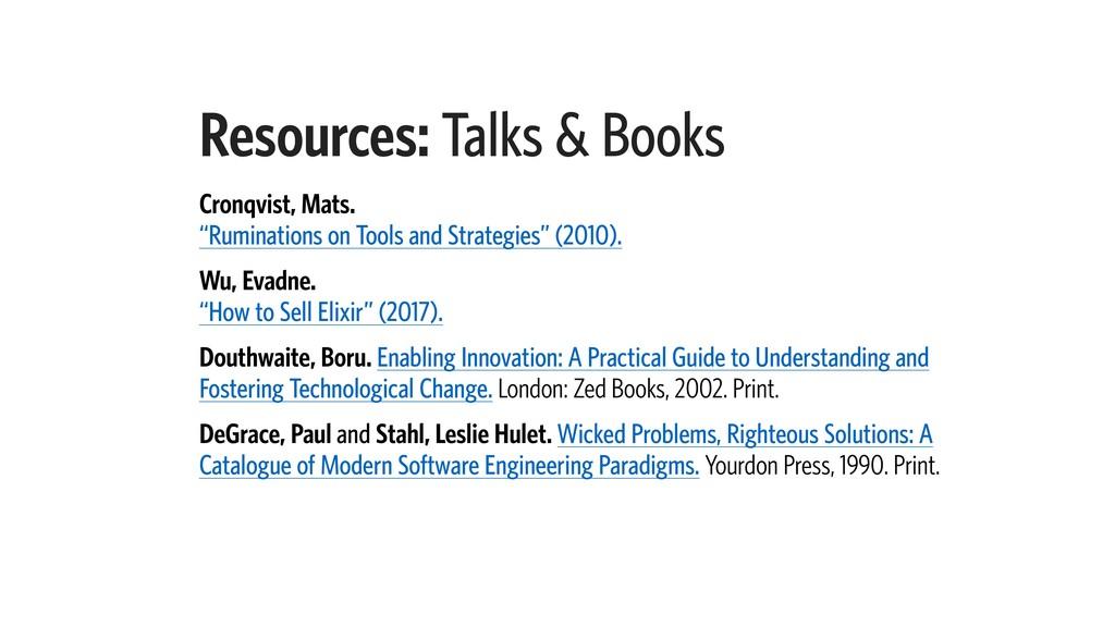 "Resources: Talks & Books Cronqvist, Mats. ""Rum..."