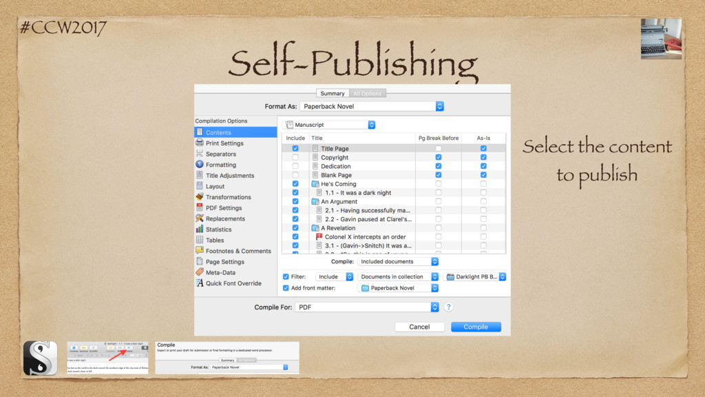 #CCW2017 Self-Publishing Select the content to ...