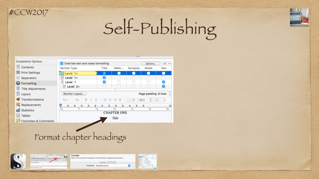 #CCW2017 Self-Publishing Format chapter headings