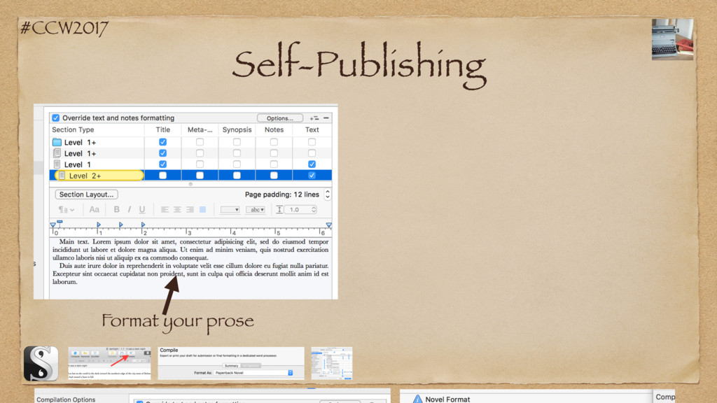 #CCW2017 Self-Publishing Format your prose