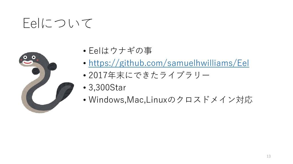 Eelについて • Eelはウナギの事 • https://github.com/samuel...