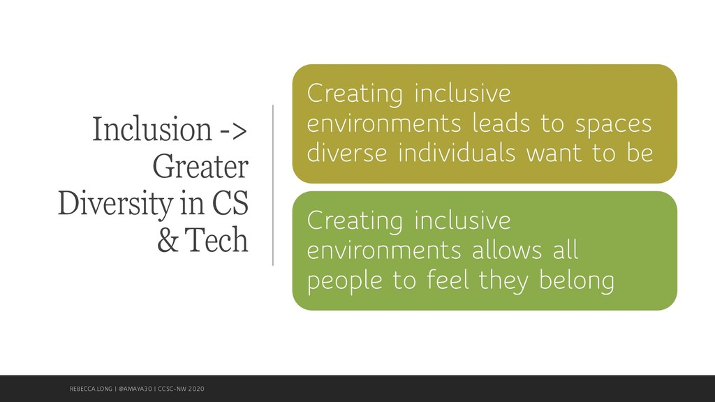 Inclusion -> Greater Diversity in CS & Tech Cre...