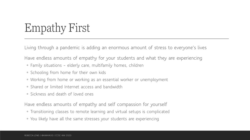 Empathy First Living through a pandemic is addi...