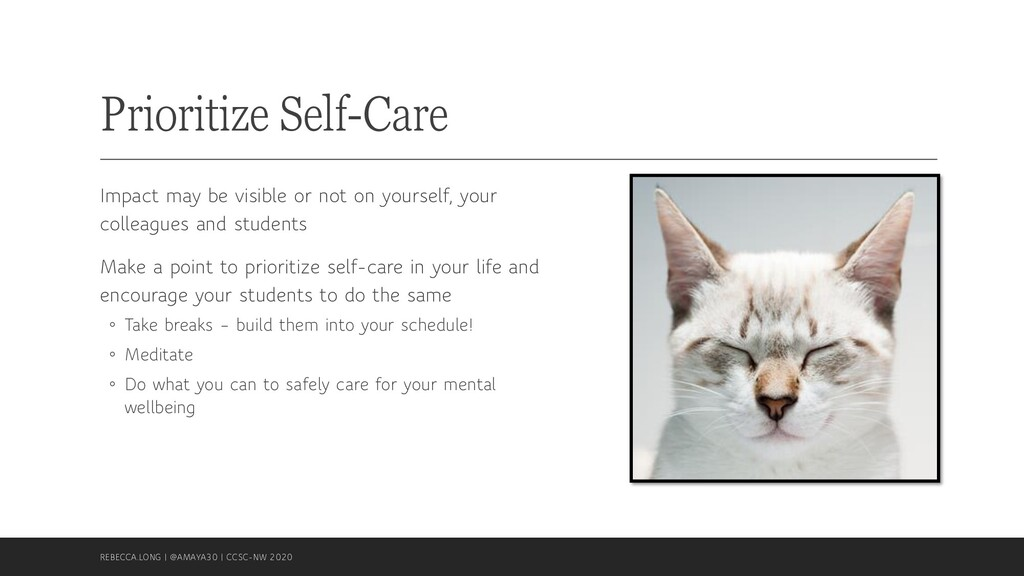 Prioritize Self-Care Impact may be visible or n...