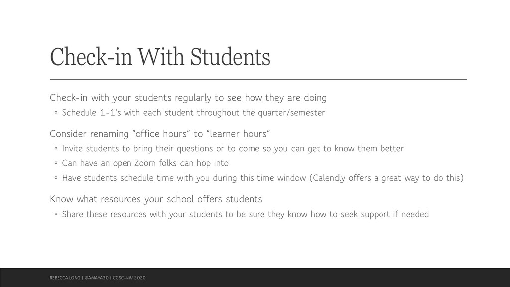 Check-in With Students Check-in with your stude...