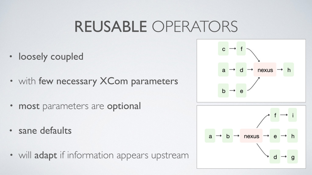 REUSABLE OPERATORS • loosely coupled • with few...