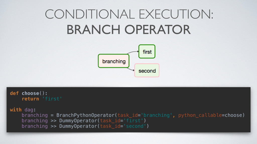 CONDITIONAL EXECUTION: BRANCH OPERATOR def choo...