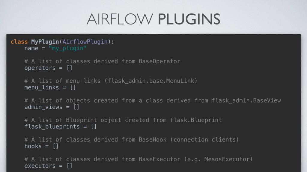 AIRFLOW PLUGINS class MyPlugin(AirflowPlugin): ...