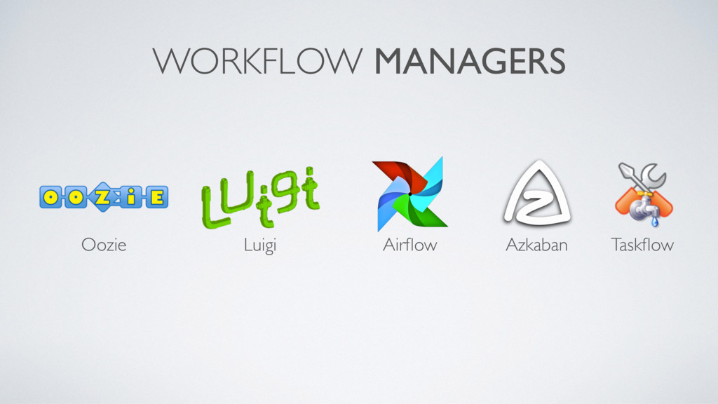 WORKFLOW MANAGERS Airflow Azkaban Taskflow Luigi ...