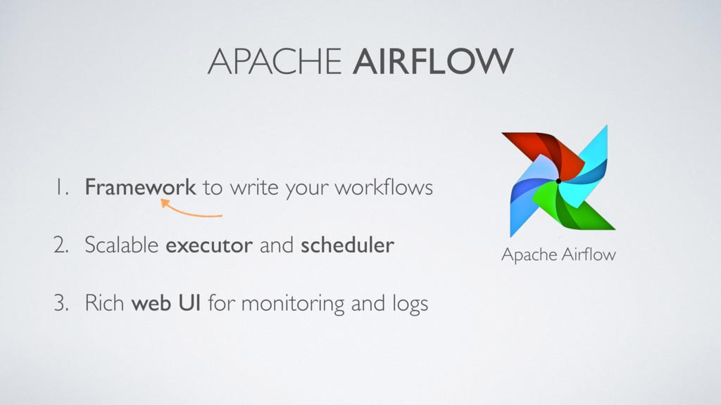 APACHE AIRFLOW Apache Airflow 1. Framework to wr...