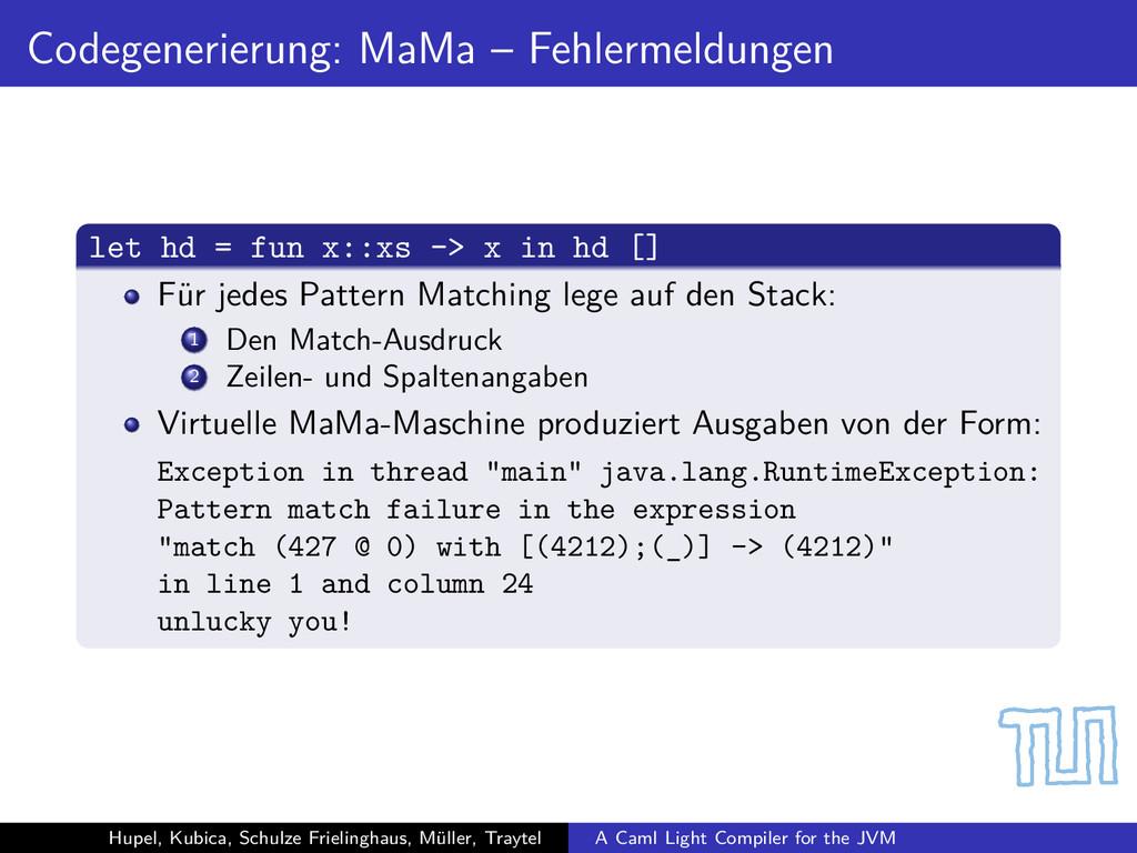 Codegenerierung: MaMa – Fehlermeldungen let hd ...