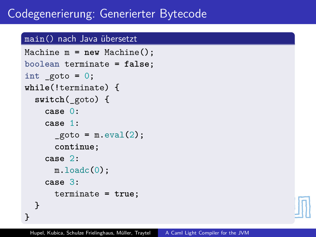 Codegenerierung: Generierter Bytecode main() na...