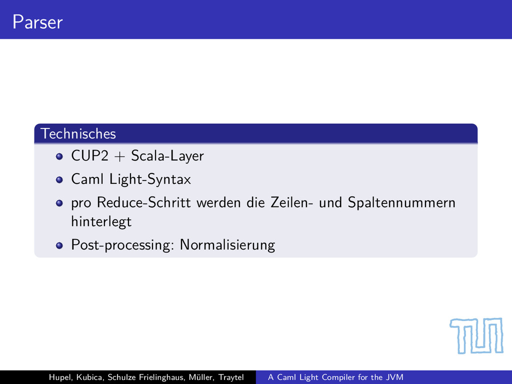 Parser Technisches CUP2 + Scala-Layer Caml Ligh...