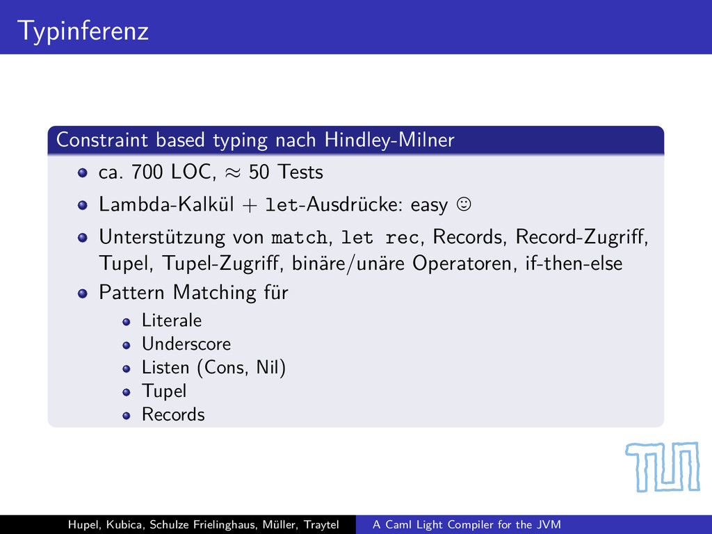 Typinferenz Constraint based typing nach Hindle...