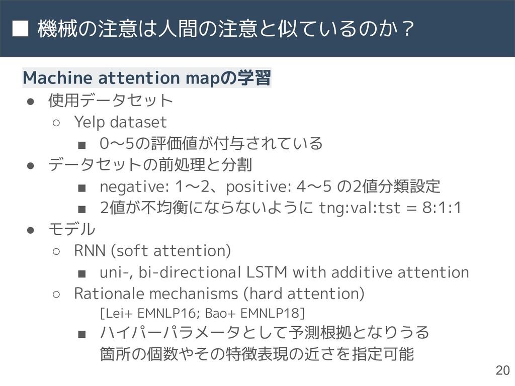 機械の注意は人間の注意と似ているのか? 20 Machine attention mapの学習...