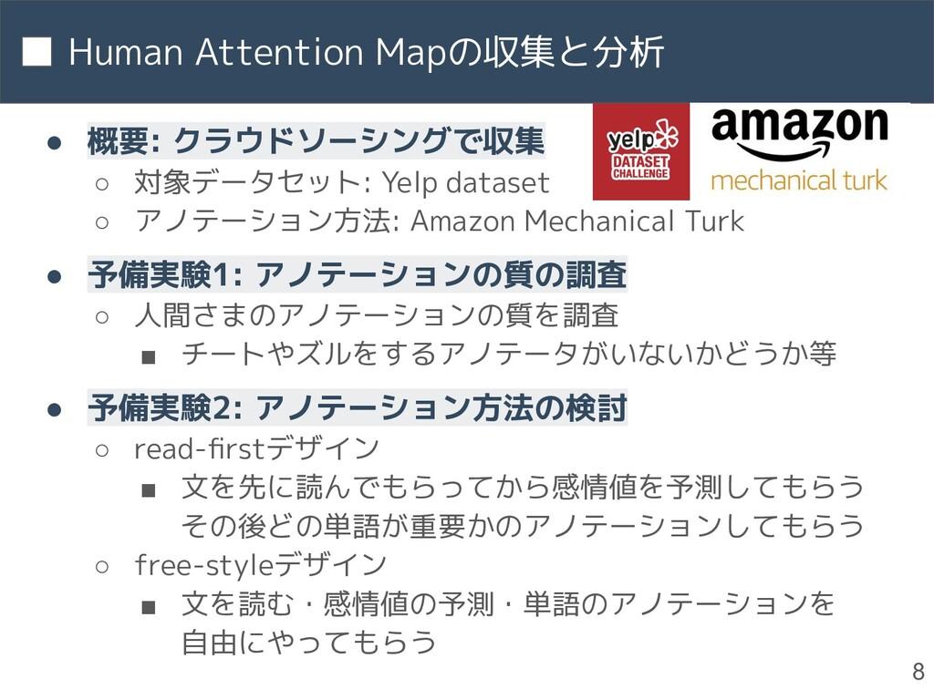 Human Attention Mapの収集と分析 8 ● 概要: クラウドソーシングで収集 ...