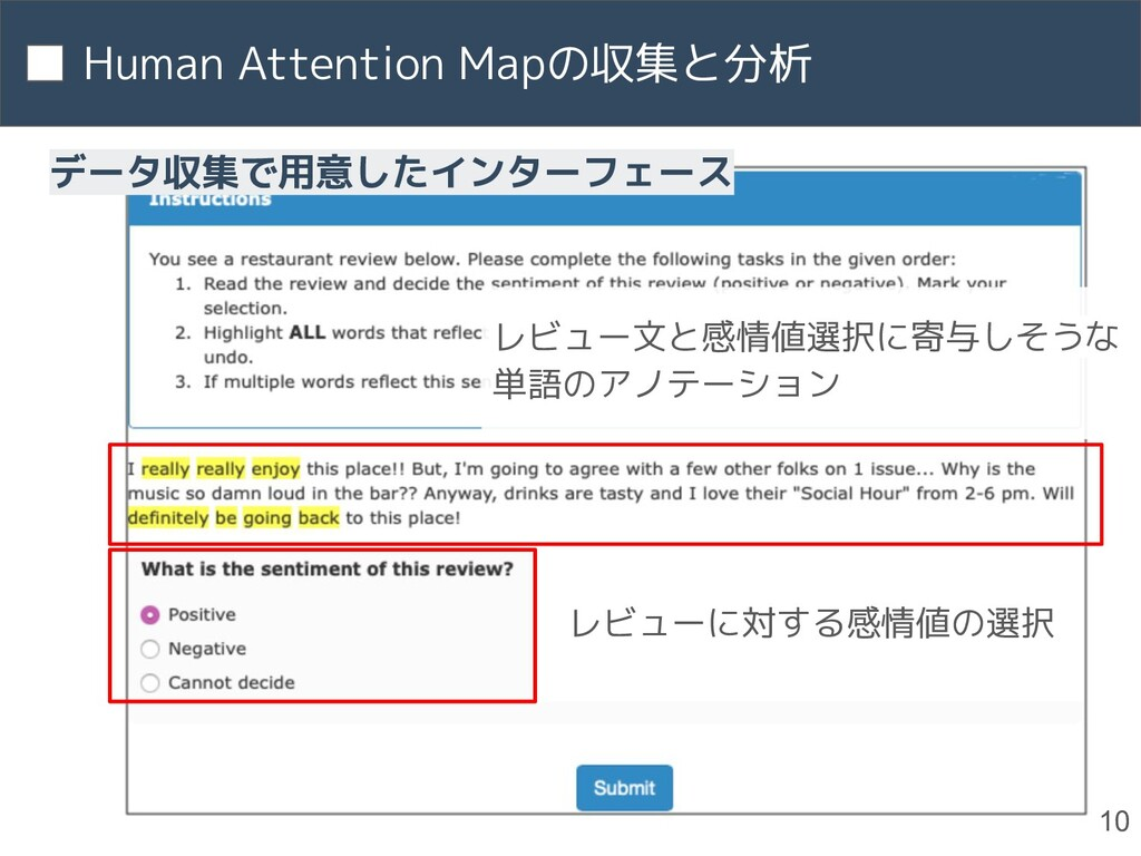 Human Attention Mapの収集と分析 10 レビュー文と感情値選択に寄与しそうな...