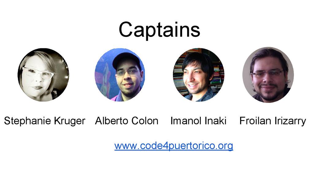 Captains Stephanie Kruger Alberto Colon Imanol ...