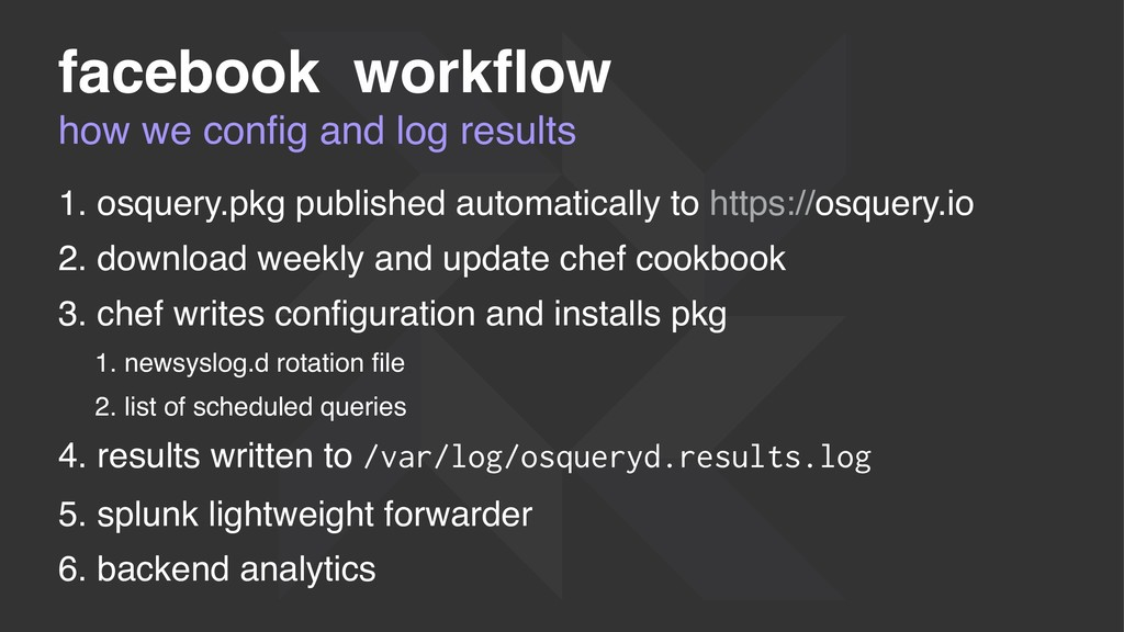 how we config and log results facebook workflow 1...