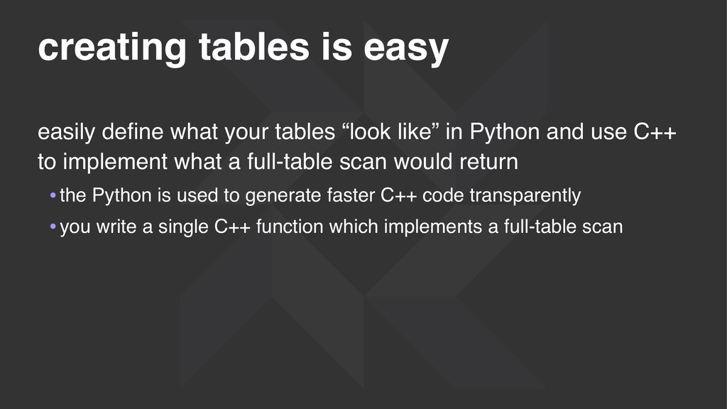 creating tables is easy easily define what your ...