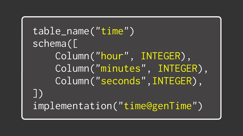 "table_name(""time"") schema([ Column(""hour"", INTE..."