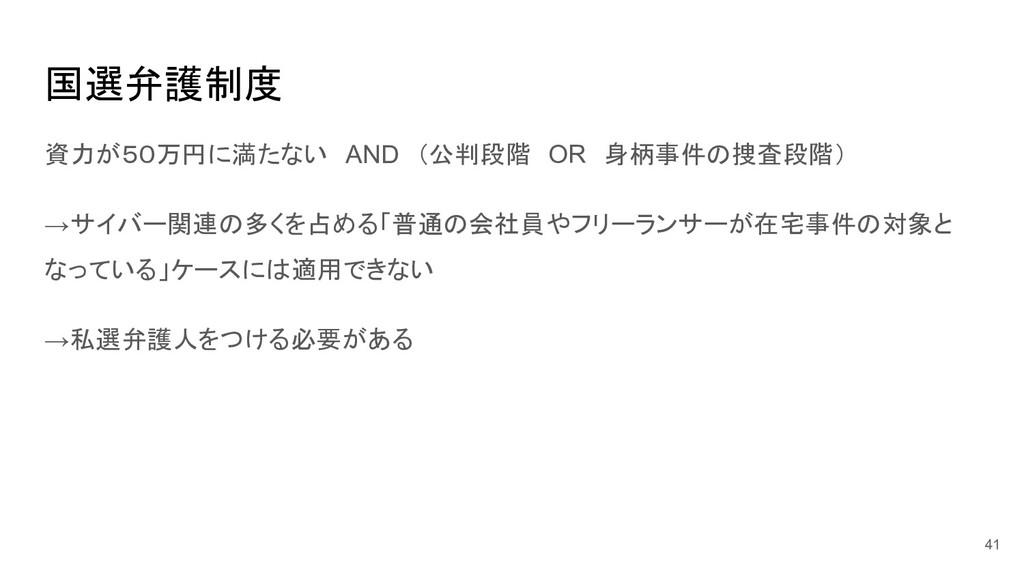 国選弁護制度 資力が50万円に満たない AND (公判段階 OR 身柄事件の捜査段階) →サイ...