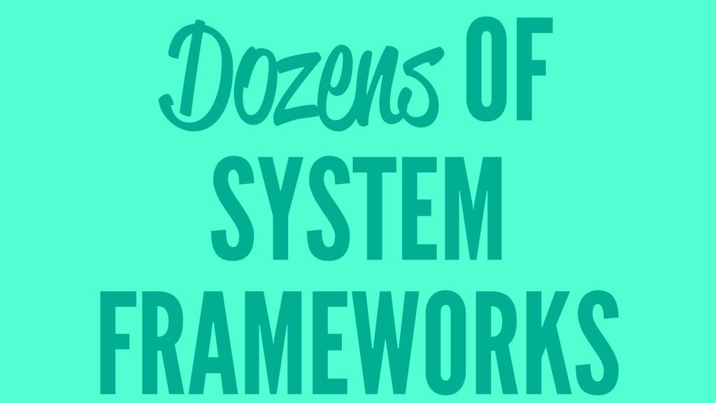 Dozens OF SYSTEM FRAMEWORKS
