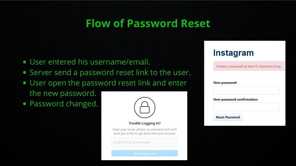 Flow of Password Reset User entered his usernam...
