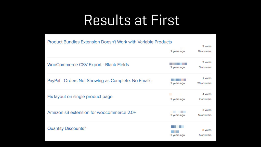 Results at First